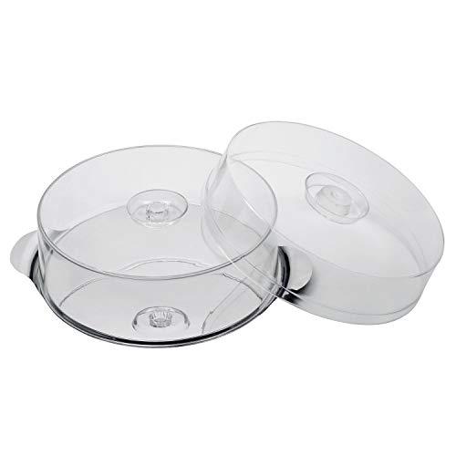 APS - Soporte para tartas con 2 tapas, diámetro 30 cm, altura de las fundas, 7 y 10 cm, acero inoxidable, con producto interior