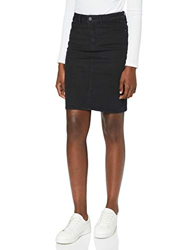 VERO MODA Damen VMHOT Nine HW DNM Pencil Skirt GA NOOS Rock, Schwarz (Black Black), S