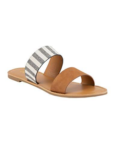Qupid Double Strap Stripe Sandals