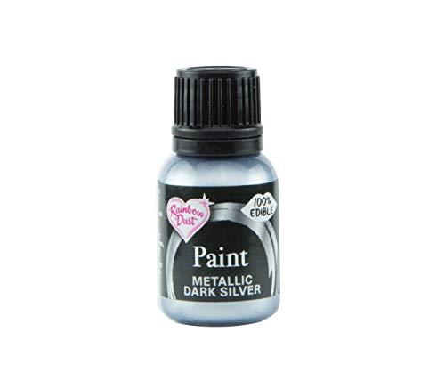 Pintura Comestible Metálica Plata Oscura 25ml