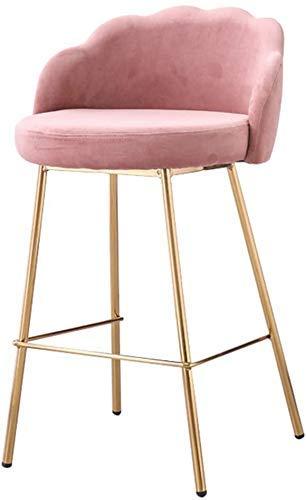 WRISCG Verstellbarer Hocker Barhocker Barhocker Barhocker Home Dining Chair Wave Rückenlehne Hoher Hocker Metallrahmen Stoff Soft Bag Stuhl Küche Freizeit Bar Sitz Hoch 66cm , Pink
