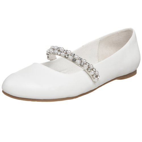 Nina Little Kid/Big Kid Nataly Flat Strap, White Smooth, 4.5 M US Big Kid