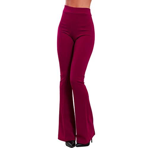 Toocool - Pantaloni Donna Campana Aderenti Zampa Elefante Elasticizzati Hot Sexy JL-2148 [L,Bordeaux]