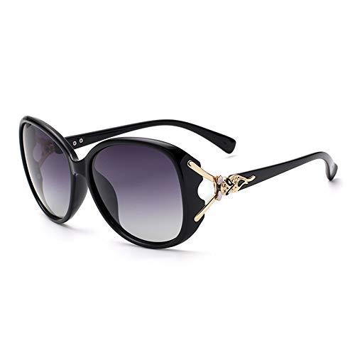 Gafas de sol para mujer, hombres, polarizadas, protección UV, moda, retro, redondas, clásicas, de aviador, lila, negro, marrón, rojo (color: negro)