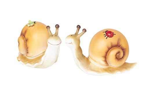 HEITMANN DECO große Schnecken - 2er-Set - Orange - mit Schmetterling und Marienkäfer - Dekoration für Wohnung oder Garten