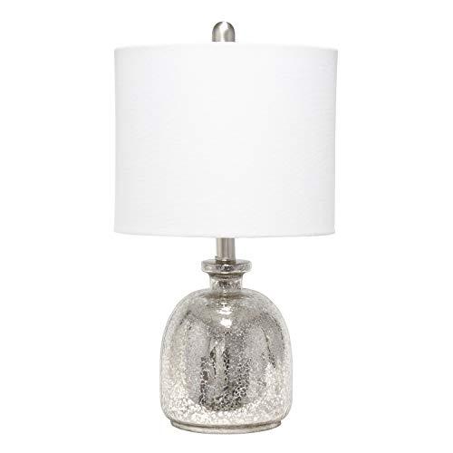 Elegant Designs LT3335-MUR Textured Glass Table Lamp, Mercury/White New Hampshire