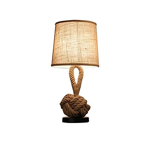 Salón dormitorio lámpara Cuerda de cáñamo personalidad retro creativo e27 lámpara de noche elegante simple pulsador luz luz de noche lámpara de mesa para sala de estar dormitorio dormitorio oficina of