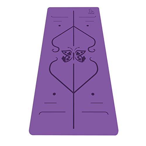Nonslip Rubber PU Yoga Mat for Women& Men- 4mm Extra Thick Large High Moisture Absorption Hot Yoga Exercise Mat 72X26.8, Free Carry Bag& Strap