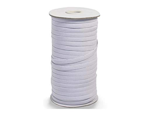 Elastic Cord for Masks and Sewing, 100 Yards, ¼ Inch Stretch Band, White Flat Braided String with High Elasticity and Soft Fabric, 6mm Wide Elastic for Face Masks, Waistband, Clothes, and More (White)