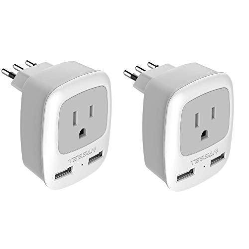 Italy Travel Plug Adapter 2 Pack, TESSAN Grounded International Power...