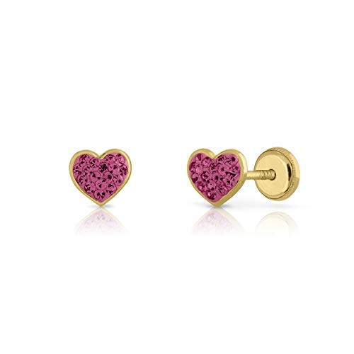 Pendientes oro real, 18k y 9 k, bebe niña o mujer, modelo corazón con piedras engastadas de calidad. Medida de la joya 5x5.5 milímetros. Con cierre de seguridad. (9 K - Rosa en rosca)
