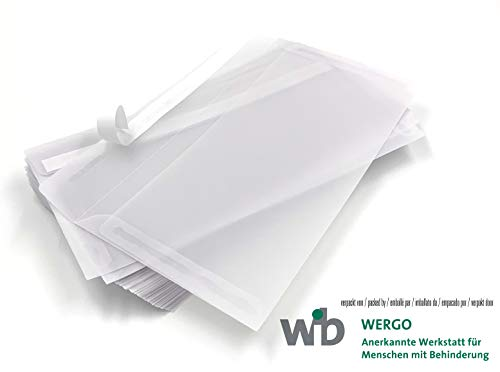 100 transparente Umschläge | Premium: 100 g/qm schwer | 220 x 110 mm, DIN lang | Abziehstreifen, weiß-transparente Briefumschläge