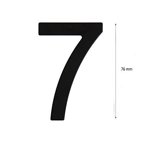 Número de calle en acero inoxidable negro mate, con dorso adhesivo, con una altura de 76 mm, número de casa, diseño de puerta (7)