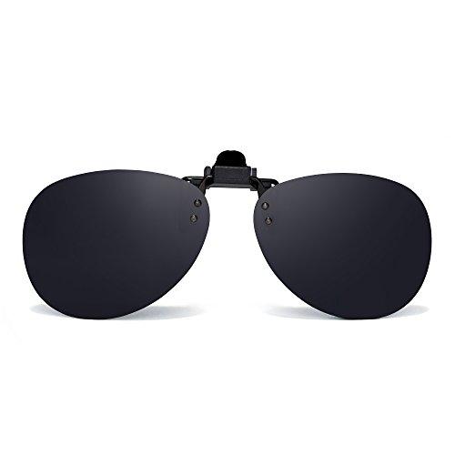 Retro Clip en Sin Marco Aviador Gafas de Sol Polarizadas Lentes de Flip up Anteojos Hombre(Gris Polarizado)