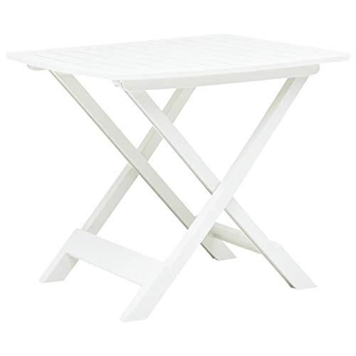 vidaXL Tavolo da Giardino Pieghevole Design a Doghe Robusto Durevole Leggero Elegante Tavola Arredi per Esterni Bianco 79x72x70 cm in Plastica