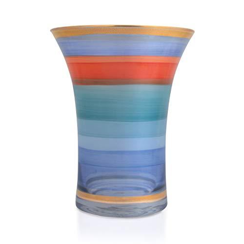 Angela nieuwe Wenen werkstaette vaas, glas, blauw, d 14 cm, h 18 cm