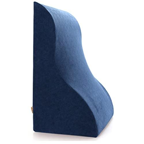 JYMYGS Almohada de Lectura, Cojín de Apoyo Lumbar Almohada de Cuña, Cabecera Tapizado, Almohada Lumbar Cervical, Antireflujo Adulto Cuña Almohada para Sofá, 49CM, y043kj (Color : Blue, Size : 49cm)