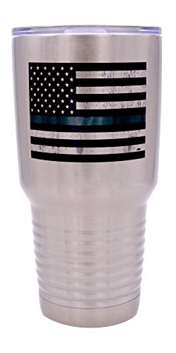 Thin Green Line Flag Large 30 Ounce Stainless Steel Travel Tumbler Mug Cup Military Federal Law Enforcement Border Patrol Game Warden Park Ranger