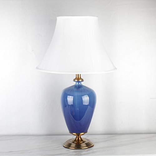 Hoogwaardige decoratieve tafellamp, lampenkap van hoogwaardige stof, lampenkap van keramiek, ijsblauw crème, leeslamp, bureaulamp slaapkamer