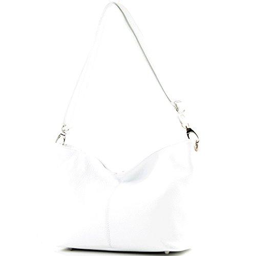 modamoda de - T157 - ital Umhängetasche Schultertasche Leder, Farbe:Weiß