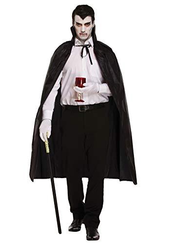 Legs Galore Ltd Halloween Halloween Zwarte Vampier Cape, Vlad Pruik en Split Rietje