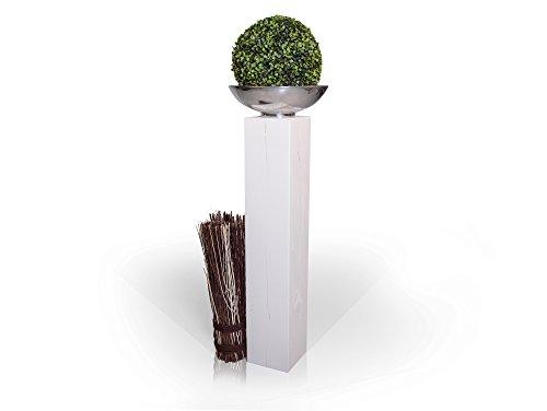 moebel-eins Blumensäule Fichte massiv Dekosäule Holzsäule Säule Landhaus Design, Weiss, 19x19 cm, 100 cm