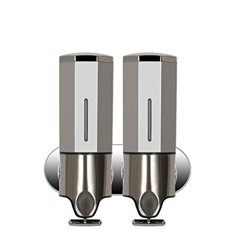 Dispensador de Jabón de Líquido para Pared Manual Dispensador De Jabón Bomba Doble Dispensador De Jabón - Lavadora De Manos - Hecho De Plástico Con Cabezal De Bomba De Cromo Capacidad De 500 Ml X 2 Ml