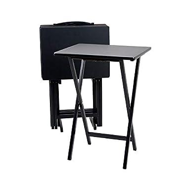 PJ Wood Folding 5-piece TV Tray & Snack Table - Black Finish Rubberwood
