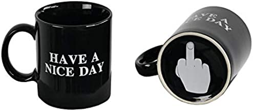 ARAD Have a Nice Day Coffee Mug, Fun Middle Finger at the Bottom, BLACK, Home and Office- Funny Christmas Gifts, Cool Ceramic Cup, Secret Santa Gift, Best Father's Day and Mother's Day Gag Gifts, 10 O