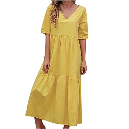 AMhomely Vestidos de mujer Venta de señoras elegantes pokets O-cuello raya impresión sin mangas casual vestidos largos tamaño Reino Unido vestidos de noche trabajo maxi vestido