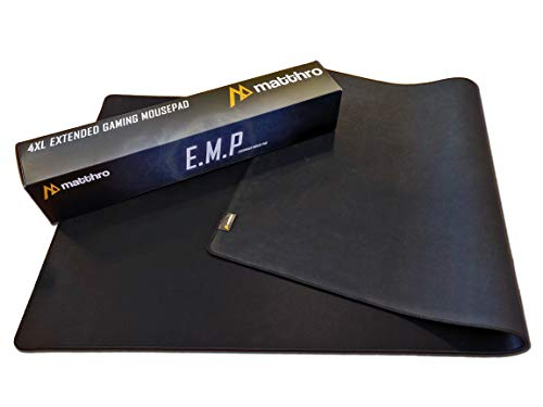 """Matthro 4XL EMP Full Desk Gaming Mouse Pad (54""""x24""""x0.16""""), Huge Oversize Giant Mouse Pad, Extended Black Smooth Fabric Cloth with Stitched Edges"""