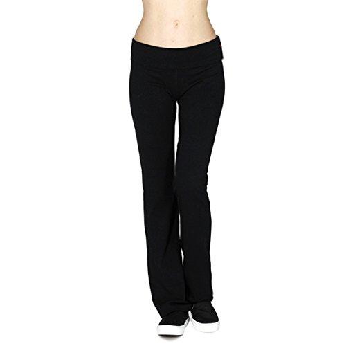 Active USA Regular Leg Stretch Cotton Fold Over Workout Yoga Pants, Small, Black