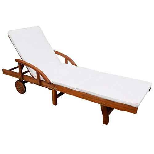 Sonnenliege Verstellbare mit Auflage Polster Gartenliege Liege mit 2 Rädern Akazienholz Massiv für Garten Terrasse Schwimmbad Braun