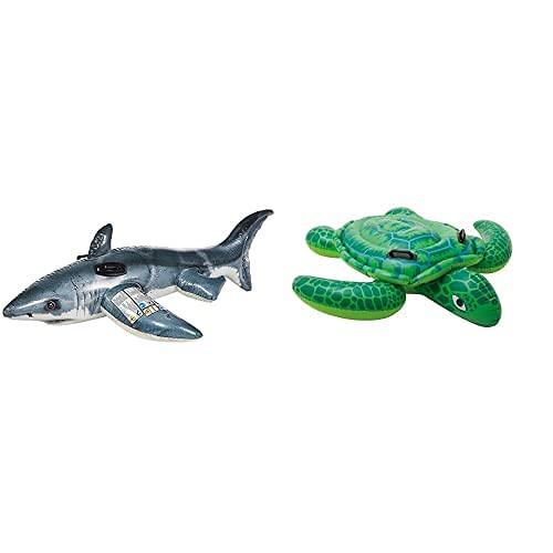 Intex 57525Np - Tiburón Hinchable Fotorrealista con 2 Asas, 173 X 107 Cm + 57524Np Tortuga Hinchable Acuática con 2 Asas 150 X 127 Cm