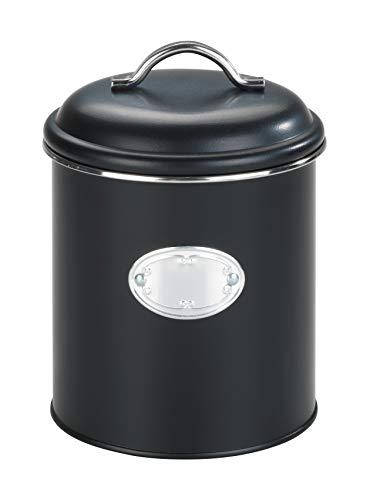 WENKO Boîte de rangement Nero, 1,6 litres, boîte fraîcheur, étanche à l'air, étanche à l'eau, en métal verni, Ø 13 x 18 cm, noire