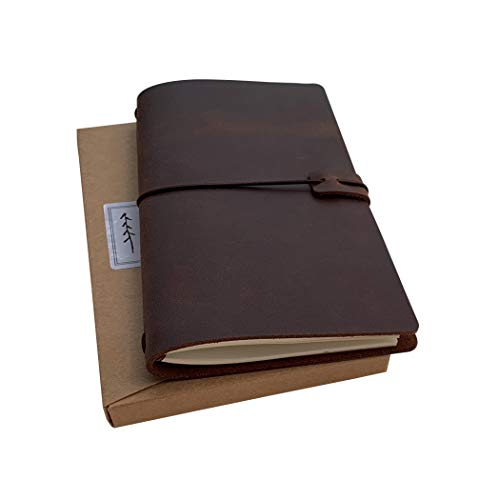 Refillable Leather Travelers Notebook - Standard Size Travel Journal with Lined Insert, 8.5 x 4.5 Inches, Dark Brown