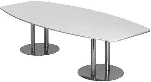 bümö® Konferenztisch rund oval 280 x 130 in Weiß | Besprechungstisch mit Chromsäulen | hochwertiger Meetingtisch