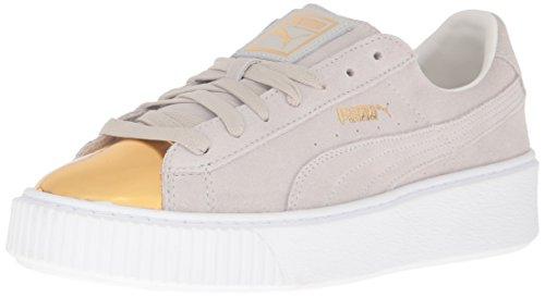 PUMA womens Suede Platform Gold Fashion Sneaker, Gold-star White-puma, 9.5 US