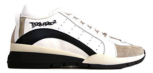DSQUARED Zapatillas de piel y tela para hombre, SNM0404 13220001 M072, color blanco y negro Blanco Size: 43.5 EU