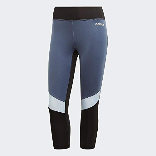 adidas Damen D2M RR 3/4 Tights, Black/Glow Blue, L