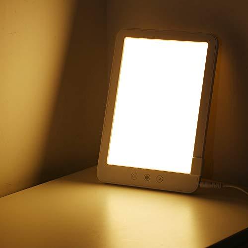 Decdeal Lámpara de luminoterapia para SAD,Lámpara de luz Diurna hasta 10,000 Lux,3 Niveles Ajustables,UV-Libre (Blanco)