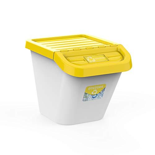 USE FAMILY-Gama Recycle. Cubos de Basura de Reciclaje para Cocina apilables. Juego de 3 contenedores 30L (amarillo)
