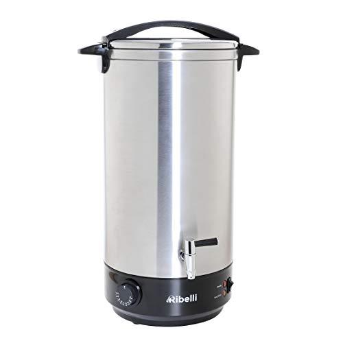 Ribelli professionele dubbelwandige glühweinkoker, 22 liter, met metalen kraan, warme drankdispenser + roestvrij staal - ideaal als warmwaterdispenser of glühweinpan - vermogen 1650 Watt