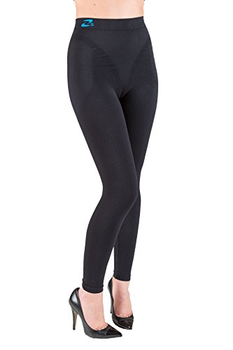 CzSalus Anti Cellulite Slimming Leggings (Fuseaux) + Silver - (Black, XS)