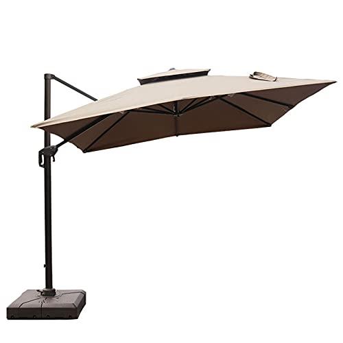 Sombrillas de Patio,sombrillas de Exterior Colgantes con manivela giratoria de 360 Grados, la Superficie de la sombrilla es fácil de inclinar, Adecuada para terraza/Patio Trasero