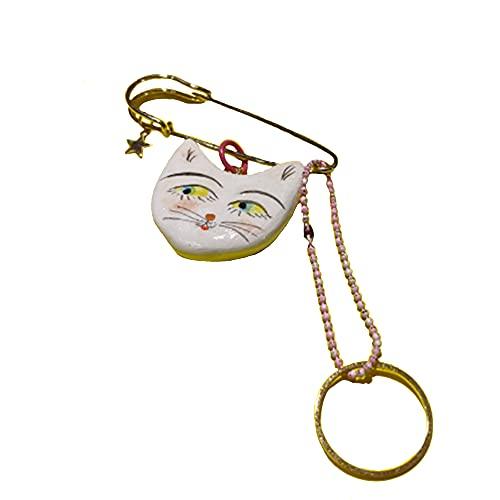 SXYB Pin de Gato de Oro 18k, joyería los Pines Blancos, Hechos...
