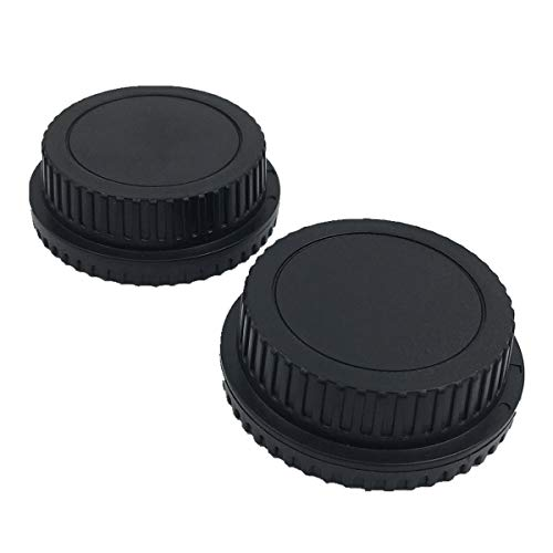 LXH 2 Pack Front Body Cap & Rear Lens Cap for All Canon EF-S EOS Mark II, III, IV, 7D Mark II D30, D60, 10D, 20D, 20DA, 30D, 40D, 5D, Rebel XT, XTi, XSi, T1, T1i, T2i, T3, T3i, T4, T4i, T5i