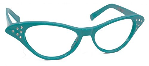 Hip Hop 50s Shop Womens Cat Eye Rhinestone Glasses, Teal