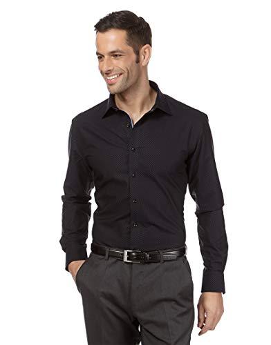 Vincenzo Boretti Camisa de Hombre, Corte Ajuste Recto/Regular-fit, 100% algodón, Estampada - no Necesita Plancha, Manga-Larga, Cuello Kent, con entredós en Contraste Negro 43/44