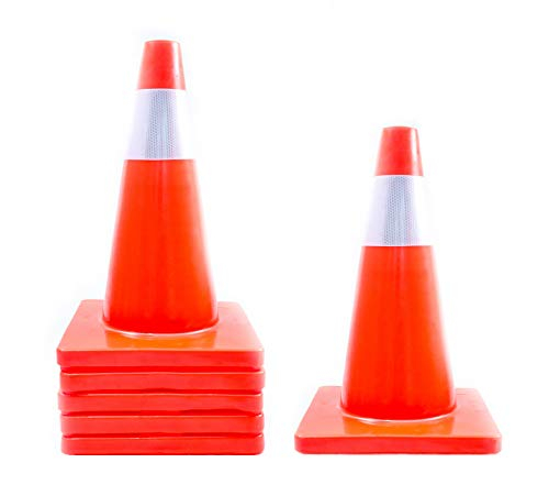 [ 6 Pack ] 18'' Orange Traffic Safety Cones   Flexible PVC Material with Reflective Adhesive Collars   Multi-use Parking, Construction Zone, and Road Hazard Markers